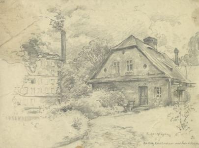 Rysunek ołówkiem. Dom wśród drzew i krzaków, obok fragment fabryki z wysokim kominem.