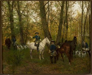 Maksymilian Gierymski, Odpoczynek na polowaniu, 1872–1873, własność Muzeum Narodowego w Warszawie