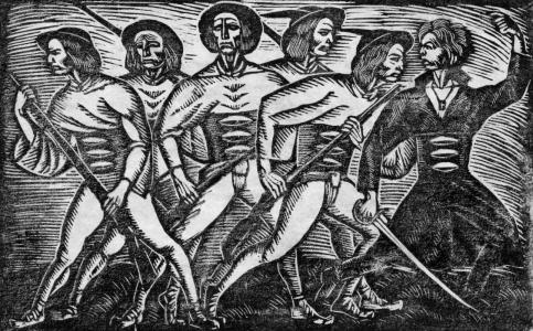 Grupa górali z bronią w rękach - drzeworyt