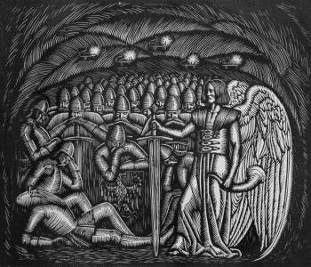 Grupa rycerzy, po prawej anioł z mieczem opartym o ziemię - drzeworyt