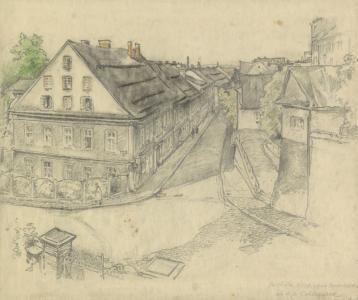 Rysunek ołówkiem. Widok z balkonu na ulicę. Po lewej i prawej stronie widoczne kamienice.