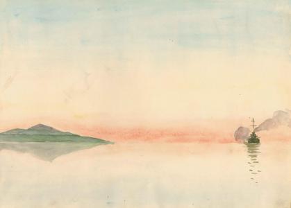 """Lucjan Fałat – """"Mimi"""" (1903, Zakopane – 1923, Bystra na Śląsku) Karta ze szkicownika 1916–1917, akwarela, gwasz"""
