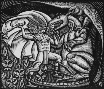 Góral walczący ze smokiem - drzeworyt