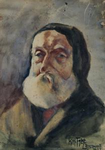"""Helena Fałat – """"Kuka"""" (1901, Kraków – 1931, Warszawa) Portret mężczyzny 1917, akwarela"""