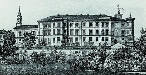 Grafika przedstawiająca zamek wraz z kaplicą
